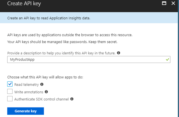Query Application Insights Telemetry Data using REST API - Generate API Key