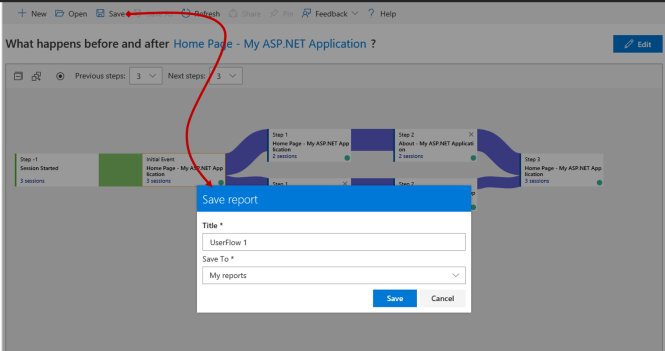 Saving Application Insights User Flows