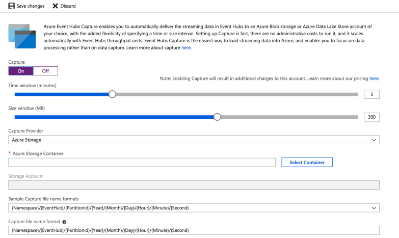 Turned On Event Capture from Azure Portal