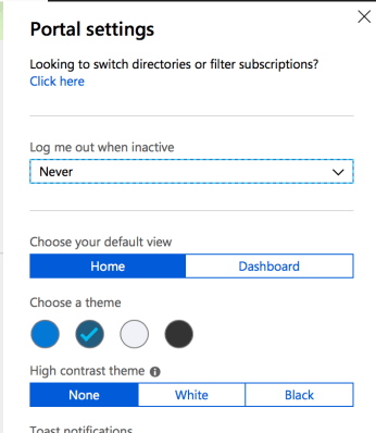 Choose your default view in Azure Portal - Settings