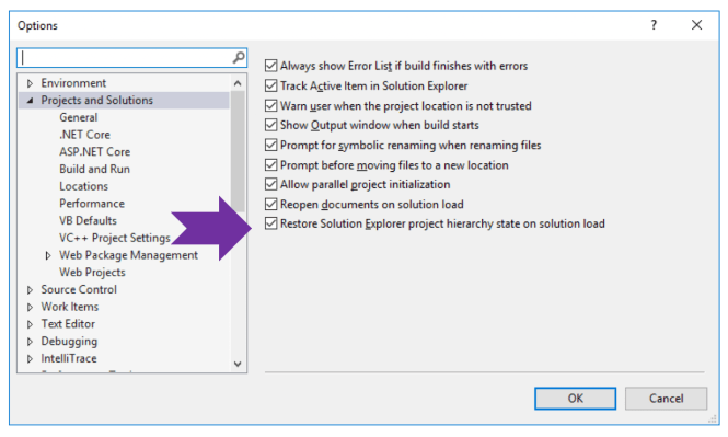 Restore Solution Explorer in VS2019
