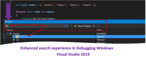 Search in Locals, Autos and Watch Windows – Visual Studio 2019