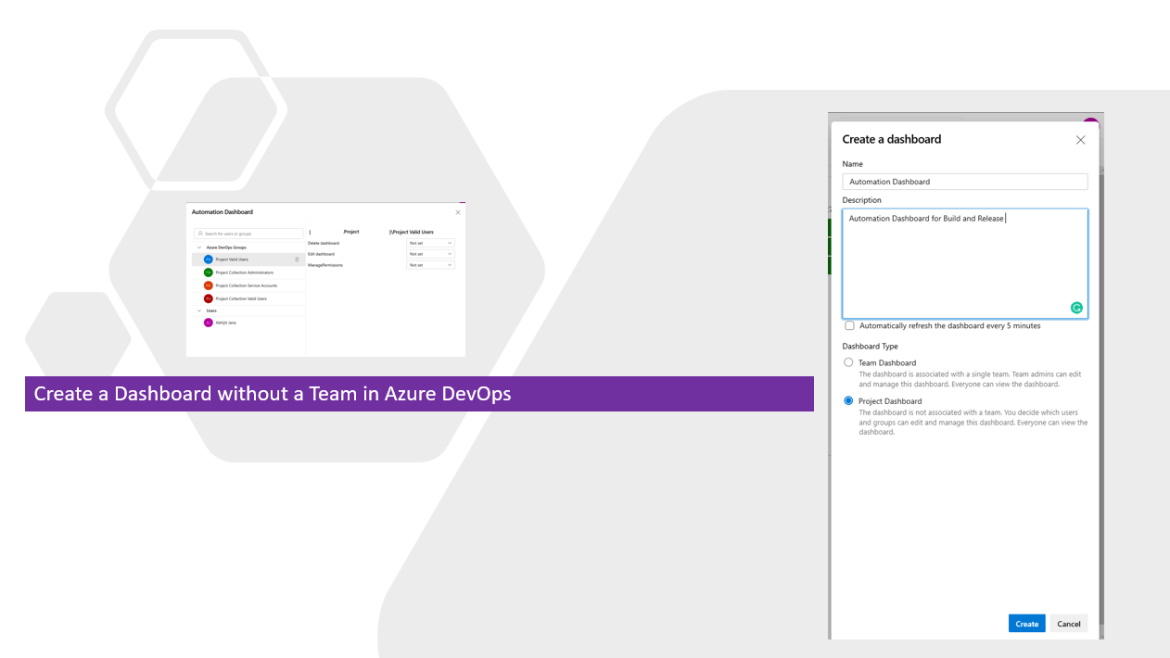 Create a Dashboard without a Team in Azure DevOps