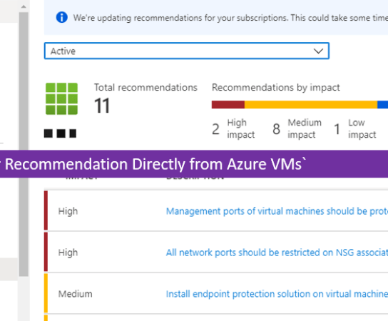 Check Azure VMs Advisor Recommendation Directly from the VMs