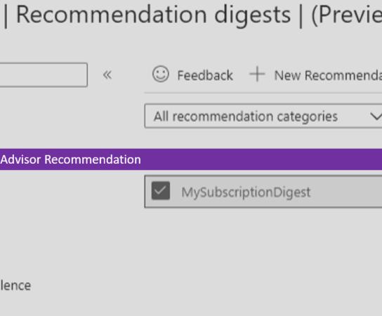 Set up Digests for Azure Advisor Recommendation
