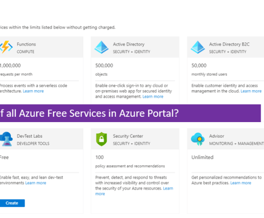 How to check the list of all Azure Free Services in Azure Portal?