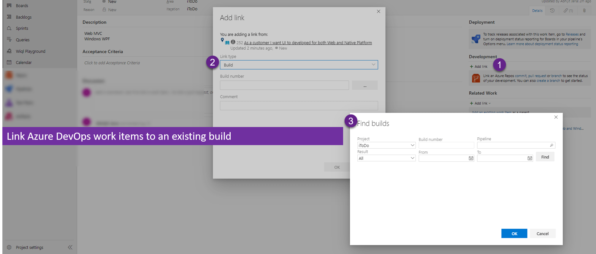 Link Azure DevOps work items to an existing build