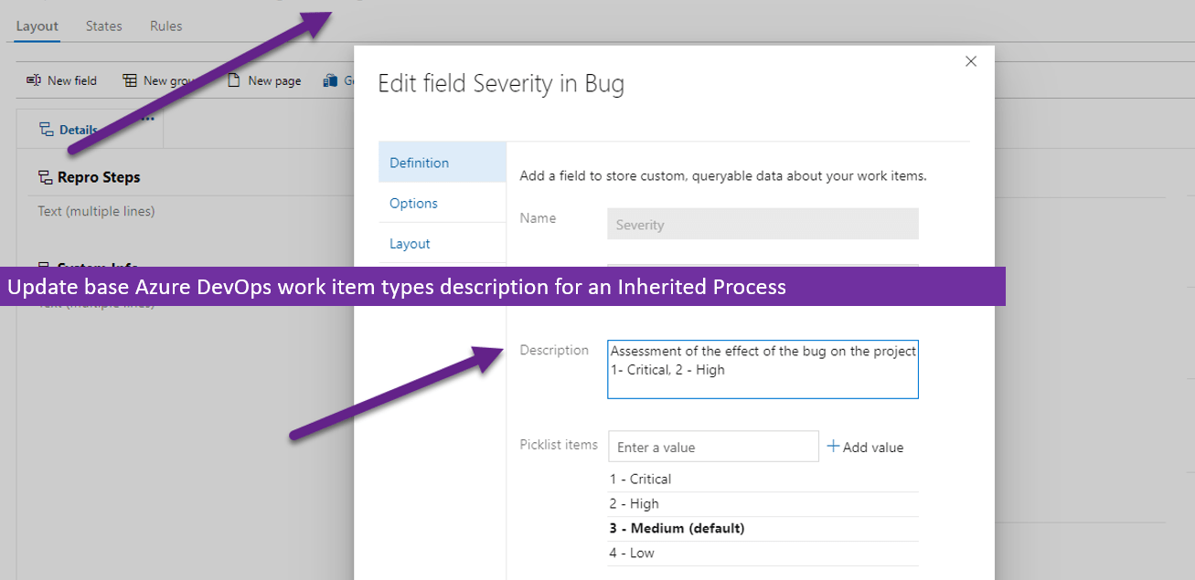 Update base Azure DevOps work item types description for an Inherited Process