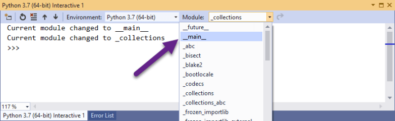 Selecting Module for Python Interactive Window