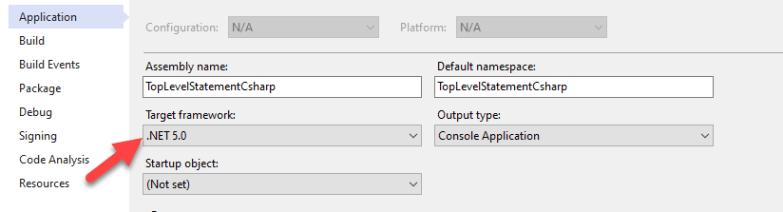 """Targeted Framework"" to .NET 5.0"