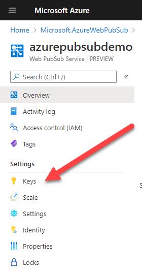 Keys Settings for PubSub Account