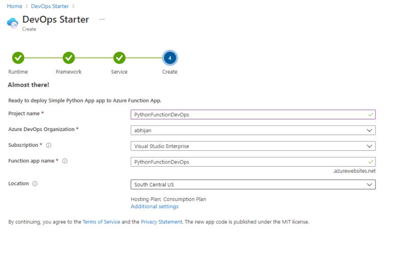 Create Azure DevOps Project, Azure Function App and CI/CD Setup