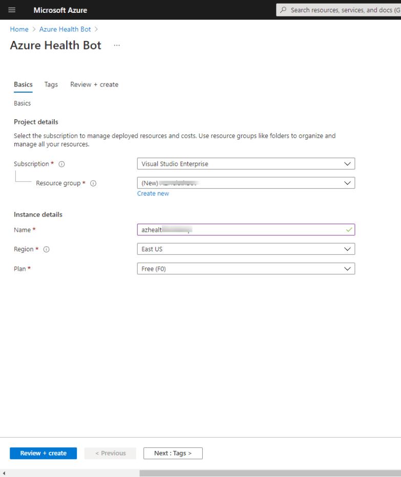 Create Azure Health Bot