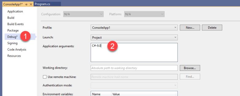 Command Line Arguments in Visual Studio