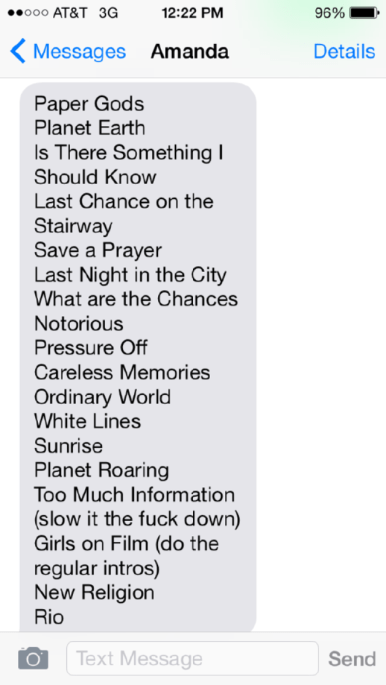 Suggested set list for Berkeley