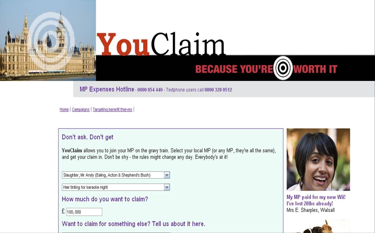 You Claim expenses MP
