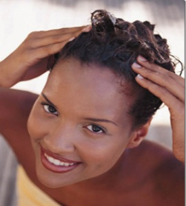 Black Woman Perming Hair, Wetting hair, Perm