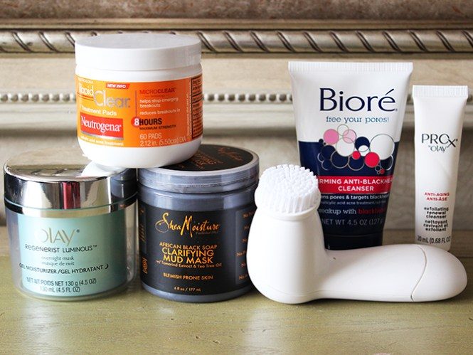 Post-Holiday Skin Regime, Drug store beauty regime, drug store beauty products, how to take care of skin after the holidays, Bioré Warming Anti-Blackhead Cleanser, Olay Pro Facial Cleansing Brush, Exfoliating Renewal Cleanser, Neutrogena Rapid Clear Treatment Pads, SheaMoisture's African Black Soap Clarifying Mud Mask, Olay Regenerist Luminous Overnight Mask Gel-Moisturizer, Affordable Post-Holiday Skin Regime, Affordable Post-Holiday Beauty Regime