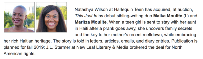Publisher's Weekly Rights Report, Maika Moulite, Maritza Moulite