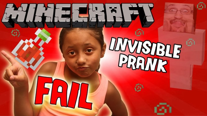 Minecraft FAIL: Invisibility Potion Trick on 8 Year Old Girl! (Prank Gone Wrong)  Dad vs. Daughter