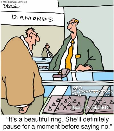 """It's a beautiful ring. She'll definitely pause for a moment before saying no."""