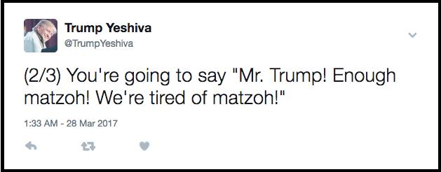 Trump Yeshiva Daily Freier Pesach Passover