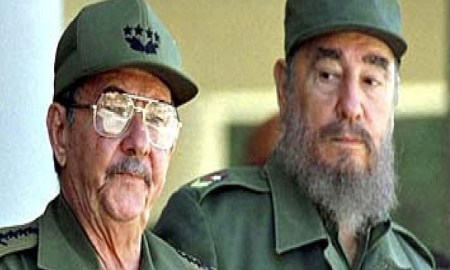 Fidel Castro with his brother Raul (left) in June 2001. Photograph: Reuters