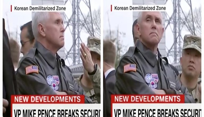 New Video Footage Of Pence On N. Korean Border Shows Him Being A Total F****n' Bada**