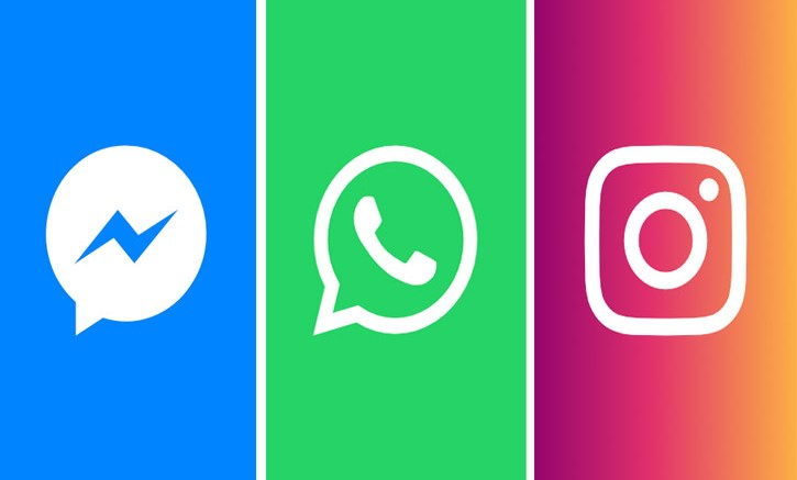 Messenger, Whatsapp, Instagram