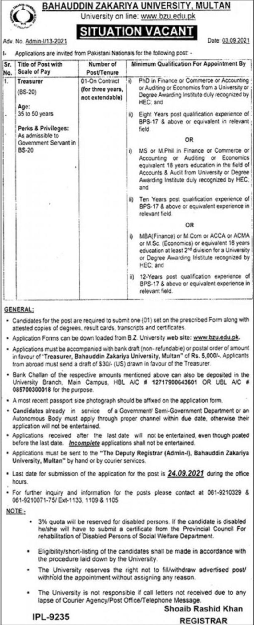 BZU Multan Jobs 2021