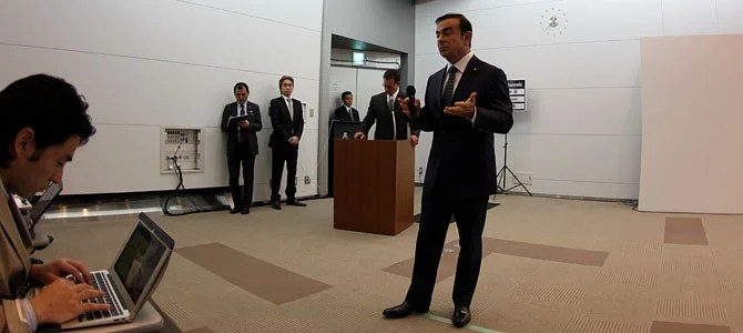 Ghosn Nikkei reporter - Picture courtesy Bertel Schmitt