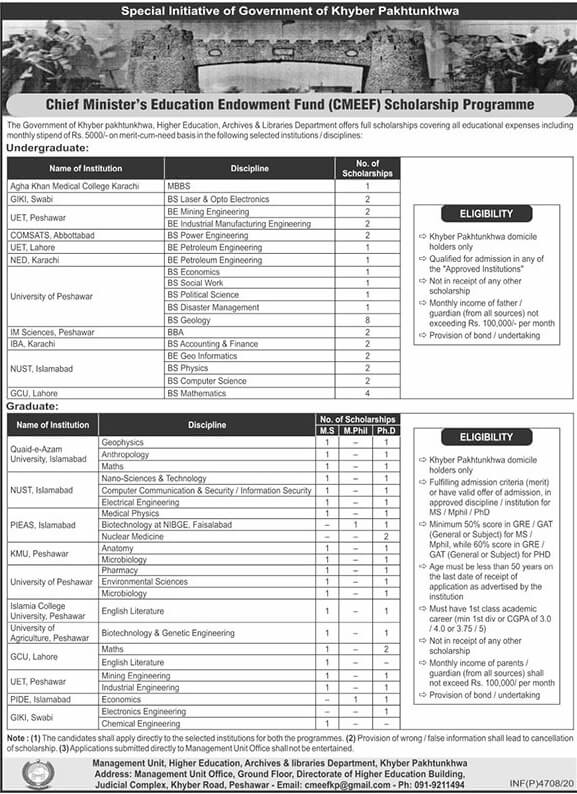 CM Education Endowment Fund KP CMEEF Scholarship 2021 2 - Daily Medicos