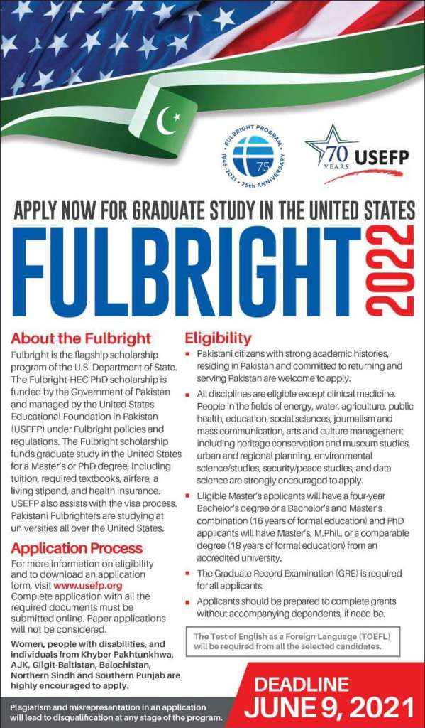 USEFP Fulbright scholarships for masters and Ph.D. 2021 2 - Daily Medicos