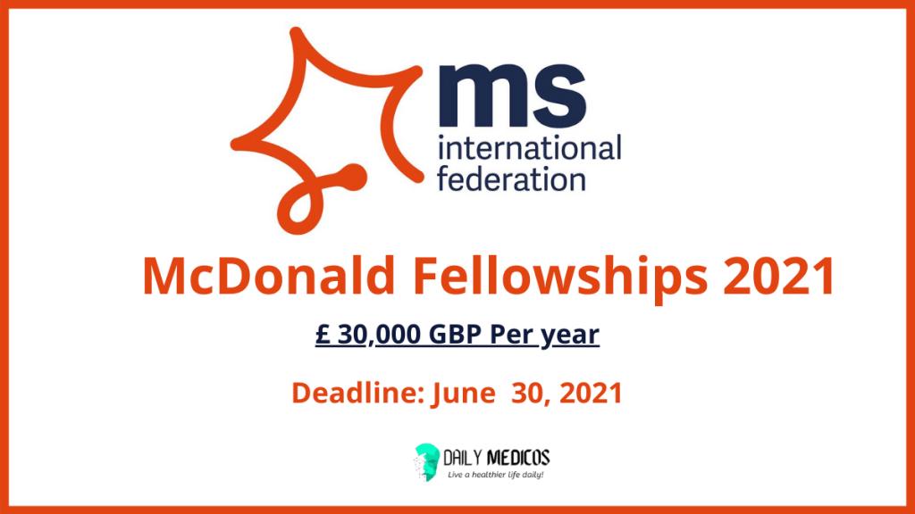 McDonald Fellowships 2021 [Fund: £30,000 GBP per year]