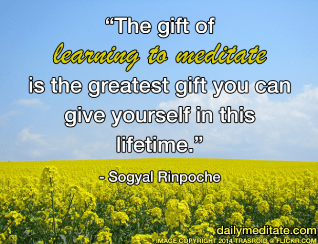 """""""The gift of learning to meditate is the greatest gift you can give yourself in this lifetime."""" - Sogyal Rinpoche"""