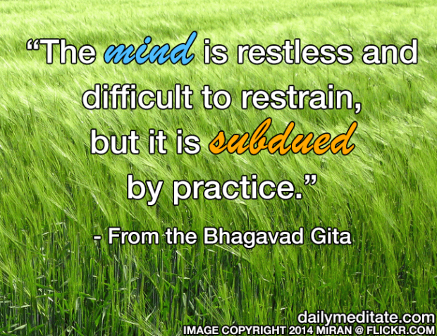 """""""The mind is restless and difficult to restrain, but it is subdued by practice."""" - From the Bhagavad Gita"""