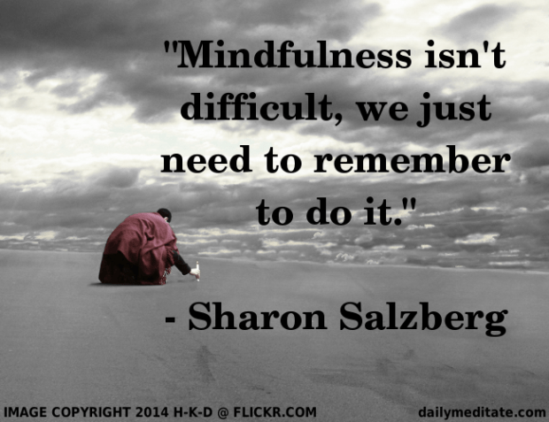 """""""Mindfulness isn't difficult, we just need to remember to do it."""" – Sharon Salzberg"""