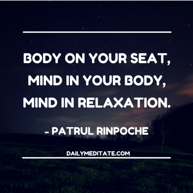 """Body on your seat, mind in your body, mind in relaxation."" - Patrul Rinpoche"