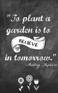 To Plant a Garden is to Believe in Tomorrow…