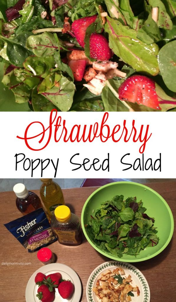 An easy salad with poppy seed dressing that you can make from home! Save money and make this yourself http://dailymomtivity.com