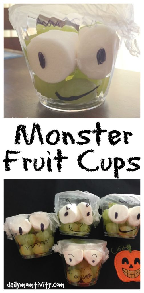 Make these fun Halloween treats for your kids! Low on sugar but full of fun! Monster Fruit Cups, the perfect healthy snack for kids this Halloween season