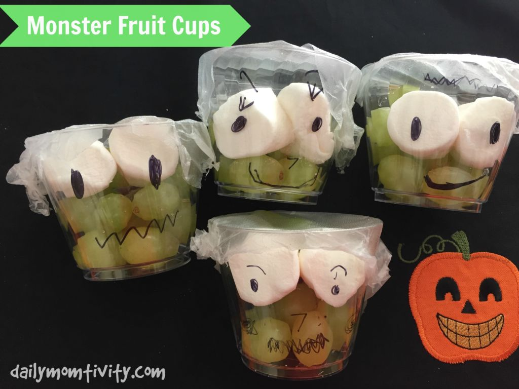 Monster Fruit Cups, the perfect healthy snack for kids this Halloween season