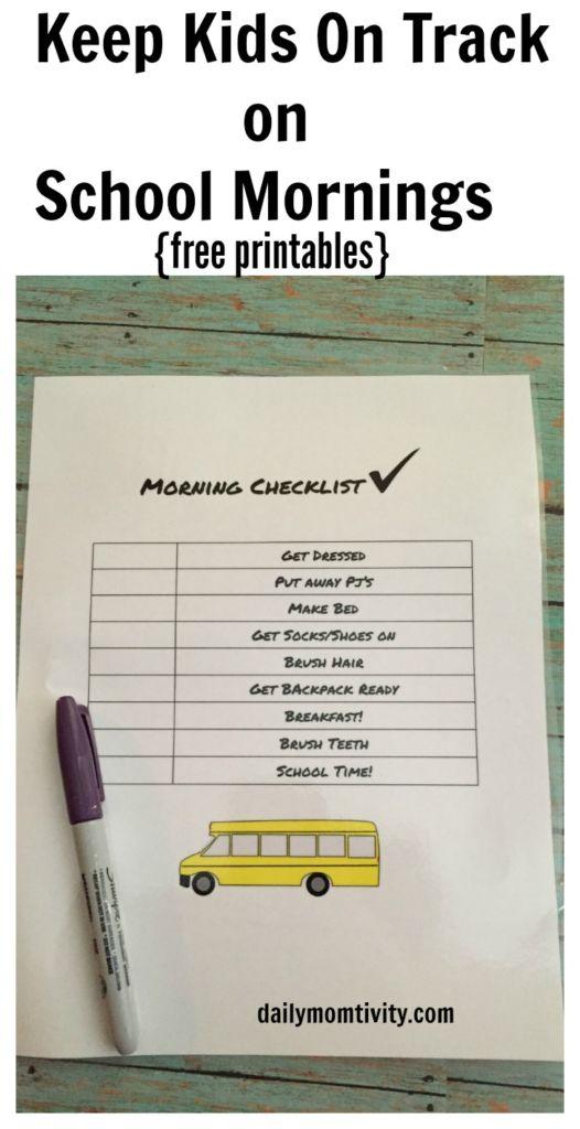 School Mornings Check list, free printables for kids
