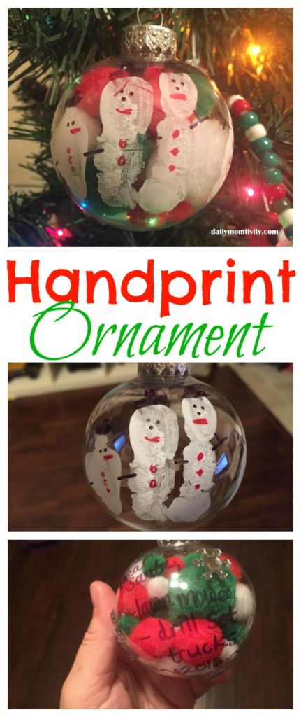 This is the perfect hand print ornament that makes a great keepsake for years to come