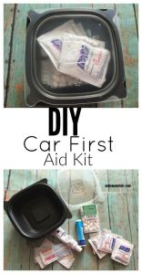DIY car first aid kit made from a Chick-fil-a soup container #chickfilamomsDIY