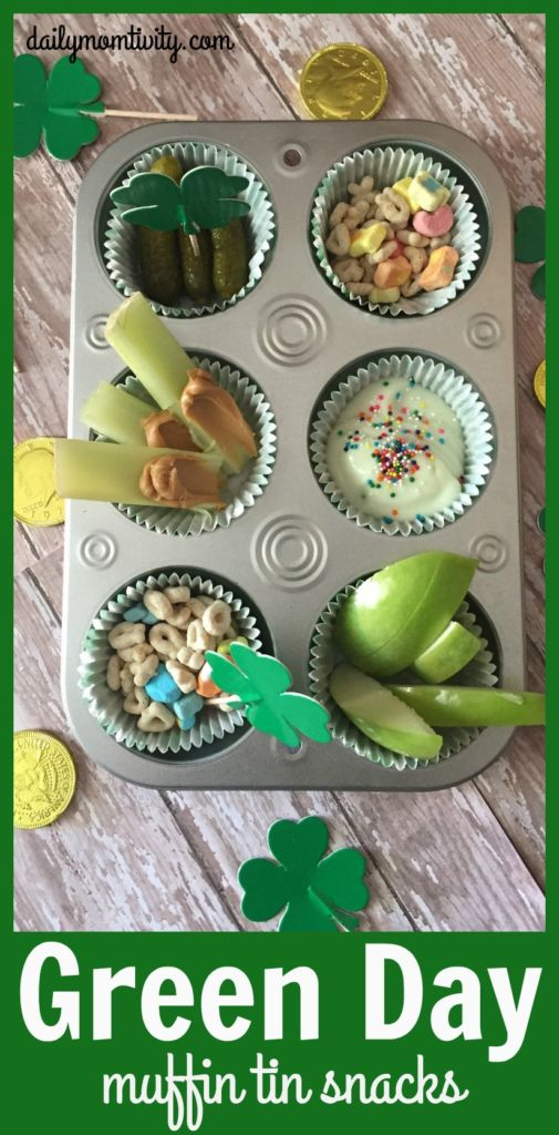 Celebrate Green Day with these green foods in muffin tins! Perfect for St. Patrick's Day