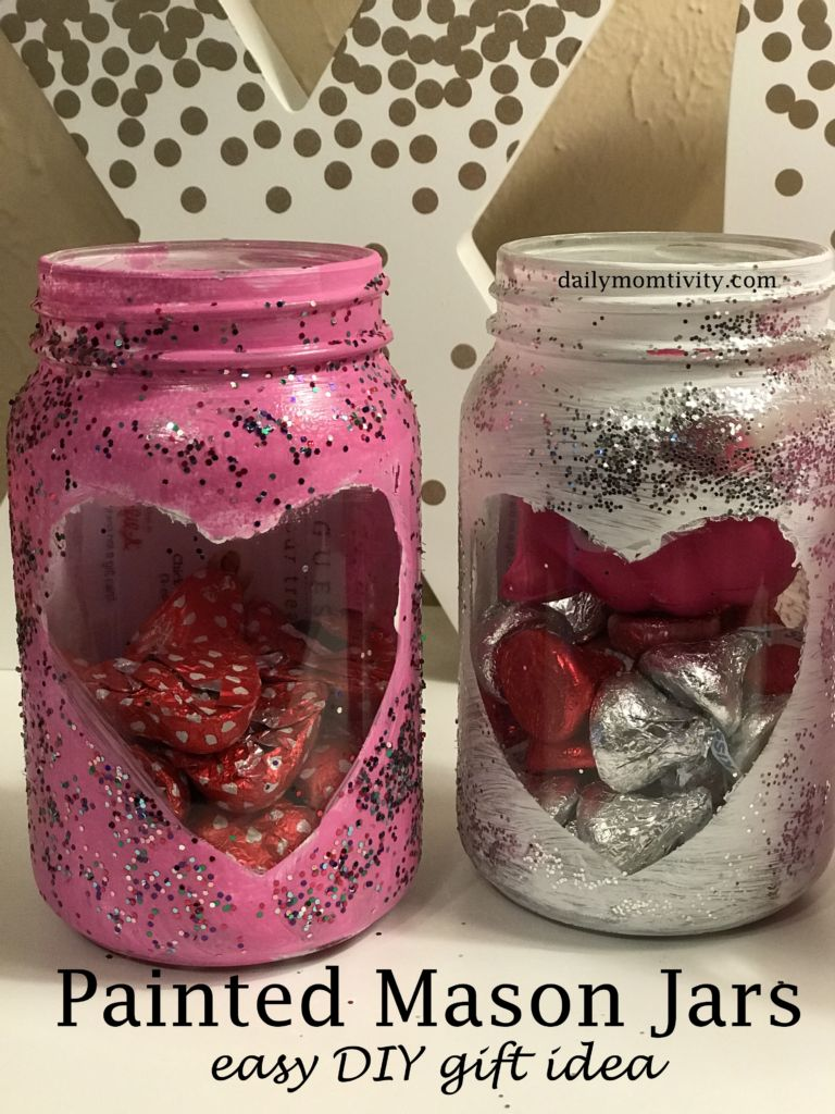Looking for an easy DIY gift idea for Valentine's Day? These painted mason jars were so easy to make and fun for kids to help you.