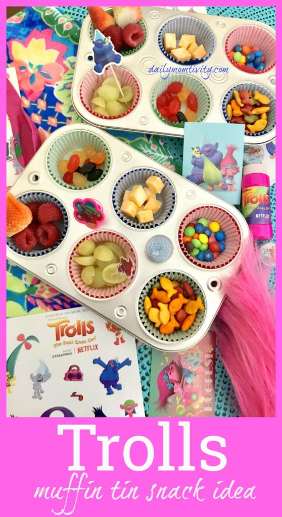 Celebrate Trolls on Netfilx with these fun muffin tin snacks!!