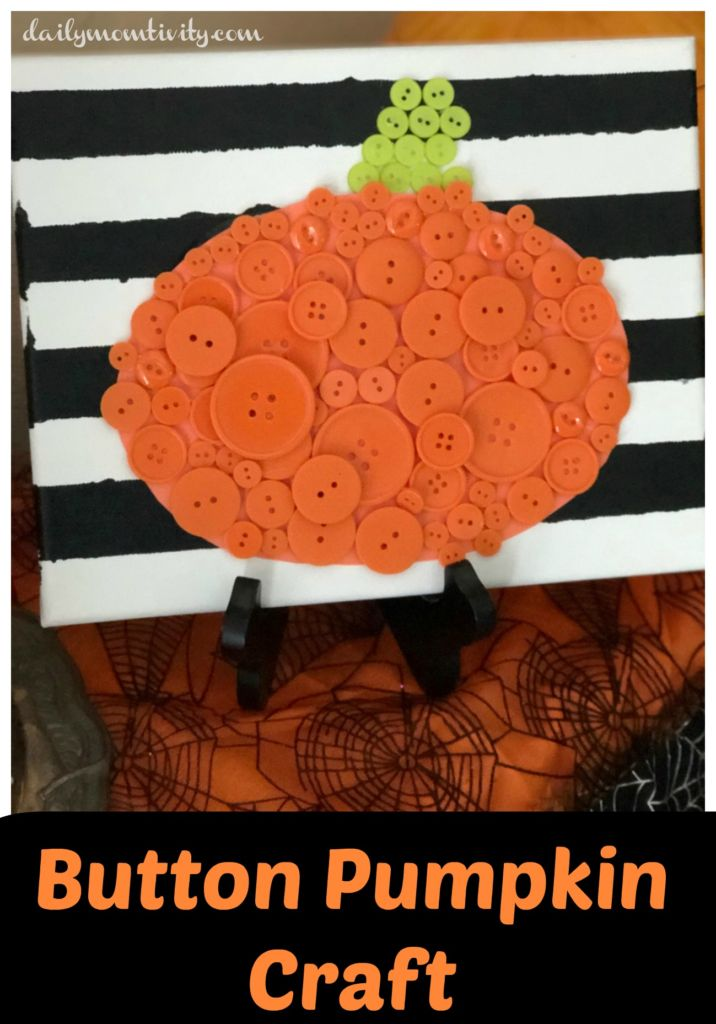 A simple and fun craft perfect for Fall, Button Pumpkin Craft
