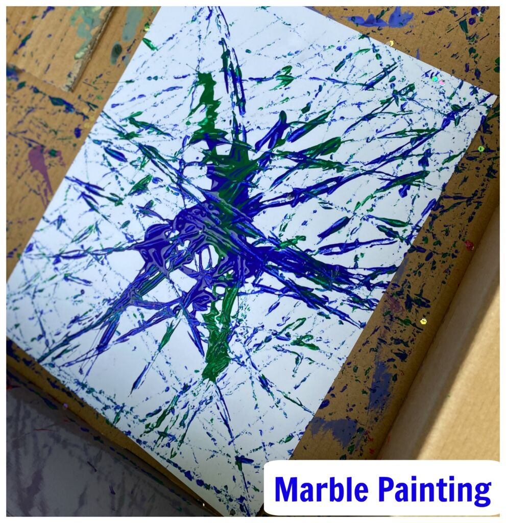 Marble Painting Idea for Kids, an easy art activity